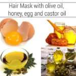 Homemade Castor oil, olive oil, honey and egg hair mask for faster hair growth