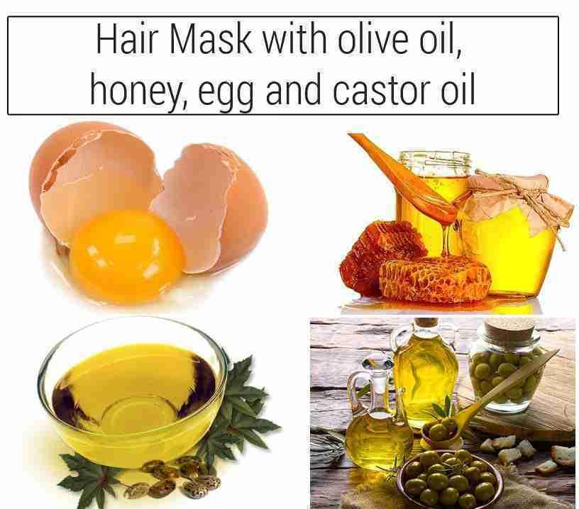 Homemade Castor oil, olive oil, honey and egg hair mask for faster hair growth